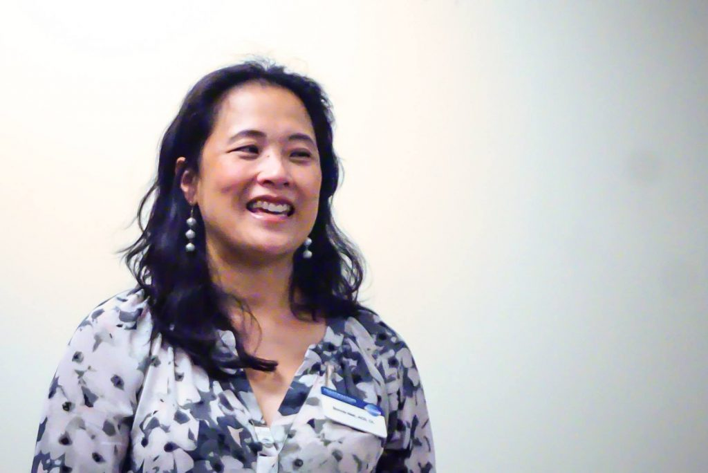 "Bonnie Mak, Toastmaster who also presented the poem ""Be Glad Your Nose is on Your Face"""